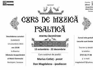 Curs de muzică psaltică, la Biserica Sfântului Acoperământ al Maicii Domnului din Burdujeni