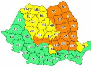 Cod portocaliu de fenomene meteo extreme în județul Suceava și nu numai